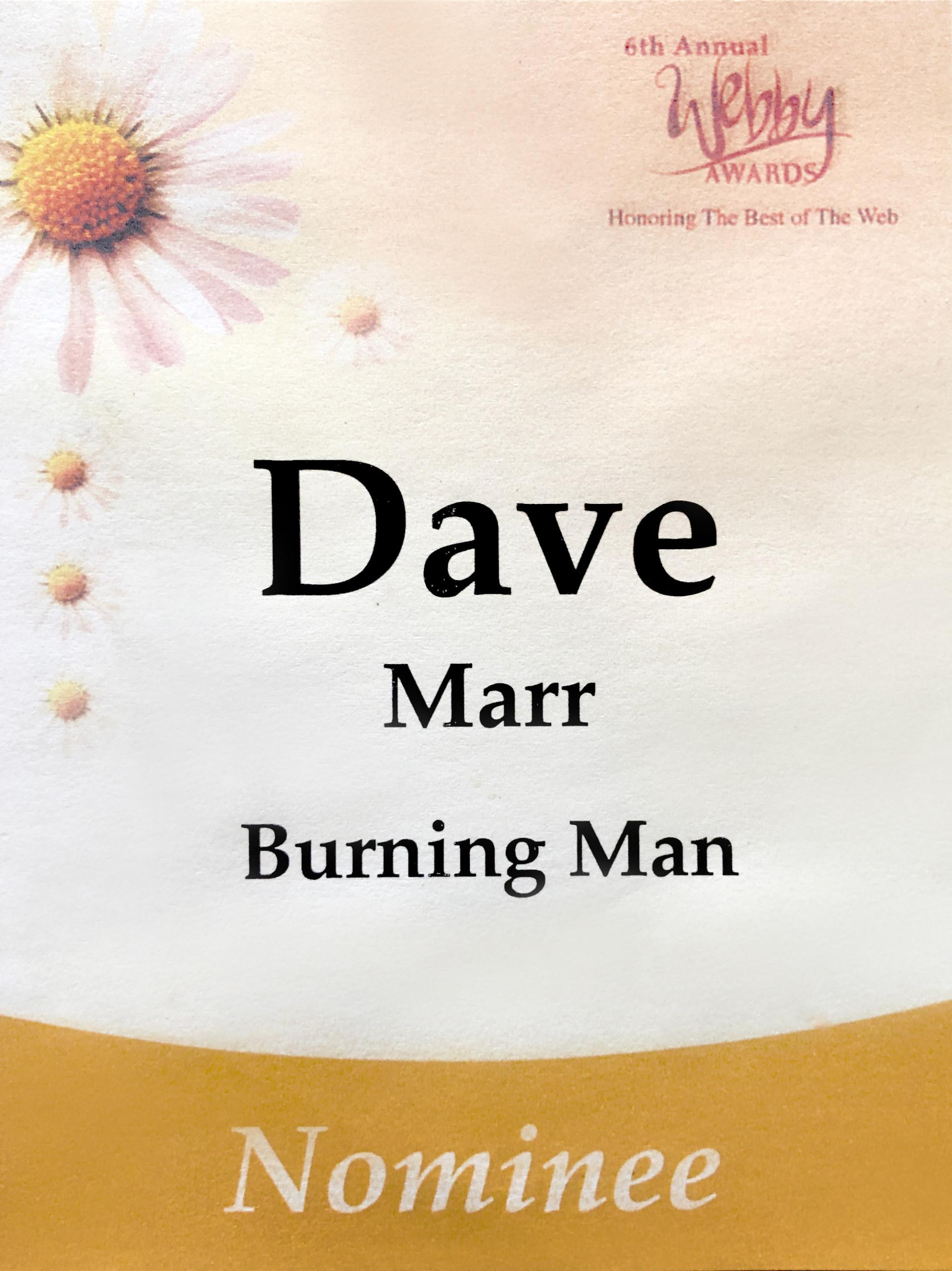 David Marr, Webby Nomination